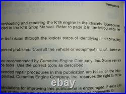 Cummins Diesel K19 Engines TROUBLESHOOTING & REPAIR Manual Service Shop Factory