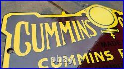 Old Vintage Cummins Diesel Engine Metal Porcelain Gas Motor Oil Heavy Metal Sign